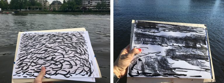 Klara Hobza draws water