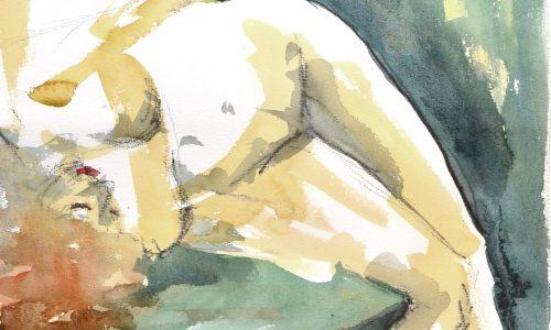 Watercolor life drawing nude redhead berlin